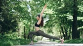 практика : girl practicing yoga in the park