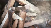 accogliente : Firewood burns in the grill. Filmati Stock