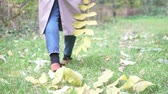 graisse : A woman in a raincoat is walking through the autumn forest. Legs in stylish boots walk on autumn foliage Vidéos Libres De Droits