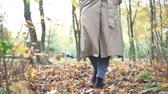 graisse : Woman on a walk through the autumn forest. Fashionable woman in a raincoat walks along beautiful autumn leaves