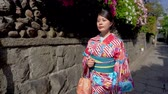 gueixa : Japanese lady with traditional dress relaxing walking near stone wall under shadow on sunny day. young girl first time wearing ladies kimono in Kyoto japan on old town street with green garden spring