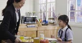 küçük kız : asian mother and child having breakfast in kitchen together. elegant businesswoman in suit taking out fruit on plate eating with daughter in school uniform in morning. woman power single mom lady. Stok Video