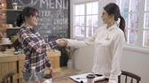 Excited smiling asian woman applicant handshaking with interviewer at meeting in coffee shop. Vidéos Libres De Droits