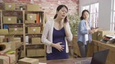 angry pregnant businesswoman shouting while talking on mobile phone and another colleague checking customer order on laptop. Vidéos Libres De Droits