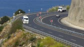 asphalt : Road sharp turn along the sea