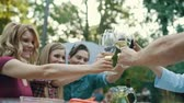 grupa : People Cheering With Drinks Enjoying Outdoor Dinner Party While Sitting At Table With Food.