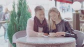 flört : Romantic Couple Drinking Coffee On Date At Street Cafe