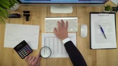 Business Man Working With Documents At Financial Office Flat Lay Stock Footage