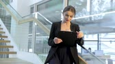 formal : Business Woman With Folder In Hands In Office Building