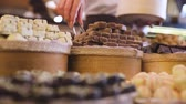produkt : Chocolate Store. Shelves With Handmade Sweets Closeup
