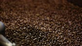 secagem : Coffee Production. Brown Beans Roasting In Machine Closeup