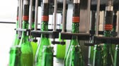 cervejaria : Beer Brewing Process. Conveyor Line With Bottles At Brewery Enterprise, Machine Fillings Bottle With Beer