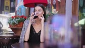 eleganckie : Beautiful Woman Drinking Wine From Glass At Restaurant Wideo