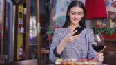 Woman Taking Food Photos On Mobile Phone Stock Footage