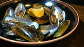 cleanness : Plate with mussels snack for an alcoholic cocktail Stock Footage