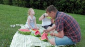 mutlu : Happy family at a picnic eating watermelon. Stok Video