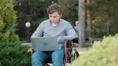 paraplegic : A disabled man is sitting in a wheelchair and working on a laptop in the park