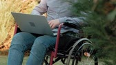 sakatlık : A disabled man is sitting in a wheelchair and working on a laptop in the park