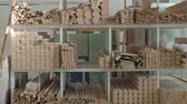 lumber industry : warehouse of wooden blanks. production of interior doors of wood