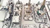kargo : river port, standing of cargo ships, vessel with a crane, winter, aerial survey, top view