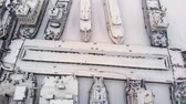 cobrar : river port, standing of cargo ships, vessel with a crane, winter, aerial survey, top view