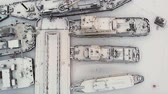 liman bölgesi : river port, standing of cargo ships, vessel with a crane, winter, aerial survey, top view
