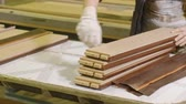 lamination of doors, drawing veneer, the production of interior doors Stock Footage