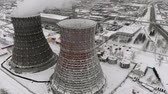 cooling towers : Heat electric station in winter. Aerial view. Top view, copter shoot