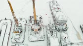 spedycja : frozen seaport, winter berths of ships, copter shoot