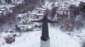 památka : Aerial view of the traditional monument statue of the ancient national woman design. Travel concept. Aerial shooting.