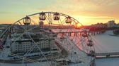 épült : Aerial shooting, ferris wheel,cityscape at sunset, sunrise