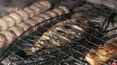 şerit : BBQ cooking meat,BBQ, cooking meat Stok Video