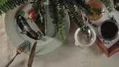 arranjando : table setting, top view