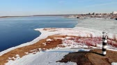 есть : river in the spring season, aerial shooting