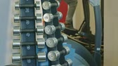 dumbell : Stand with dumbbells in the gym Stock Footage