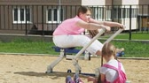 dospívající dívky : Teenager girl on the open site with exercise equipment. healthy lifestyle Dostupné videozáznamy