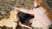 детский сад : Girl preschool girl on the beach feeds the dog. Spring