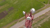 глобализация : Cell Tower. City communications. Aerial shoot