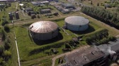 Oil storage summer aerial survey Stock Footage