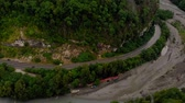 autoroute : Flying in a mountain gorge. Aerial survey