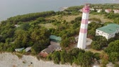 leuchtturm : Flying around the lighthouse on the seashore. Aerial shot
