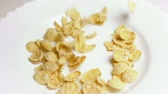 flocos de milho : SLOW MOTION: Corn flakes fall on white dish close up