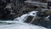 inculto : Raging Mountain river. Wildness of clean, clear water in the mountain river. Slow Motion Stock Footage