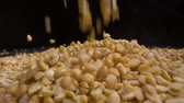 pois chiche : Dried peas are poured on a table, black background.