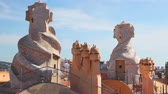 modernism : Barcelona, Casa Mila surrealistic roof Stock Footage