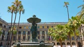 establishing shot : Plaza Real in Barcelona, establishing shot of fountain typical spanish building Stock Footage
