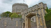 establishing shot : Gate to Windsor Castle. Establishing shot of old castle