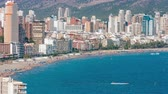 apartment buildings : Spanish tourist destination Benidorm, hotels and apartments Stock Footage