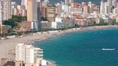 Benidorm city located on sunny Costa Blanca in Spain Стоковые видеозаписи