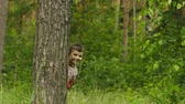 play : Cheerful little girl hiding behind a tree in the forest